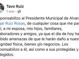 Amenazan a Tavo Ruiz